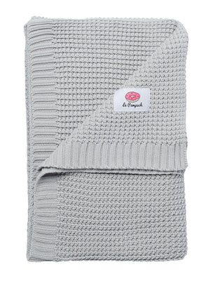 100% Cotton Grey Knit Blanket - 100 x 80cm