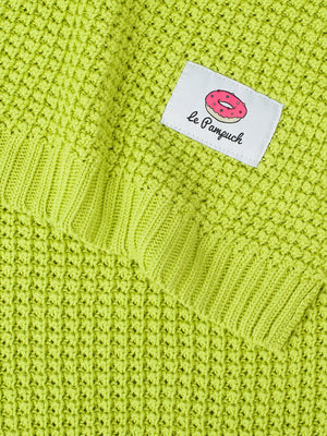 100% Cotton Lime Green Knit Blanket - 100 x 80cm