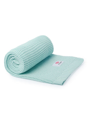 100% Cotton Mint Green Knit Blanket - 100 x 80cm