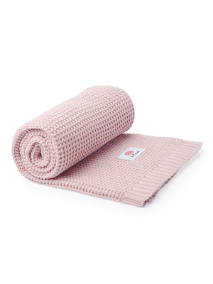 100% Cotton Pink Knit Blanket - 100 x 80cm
