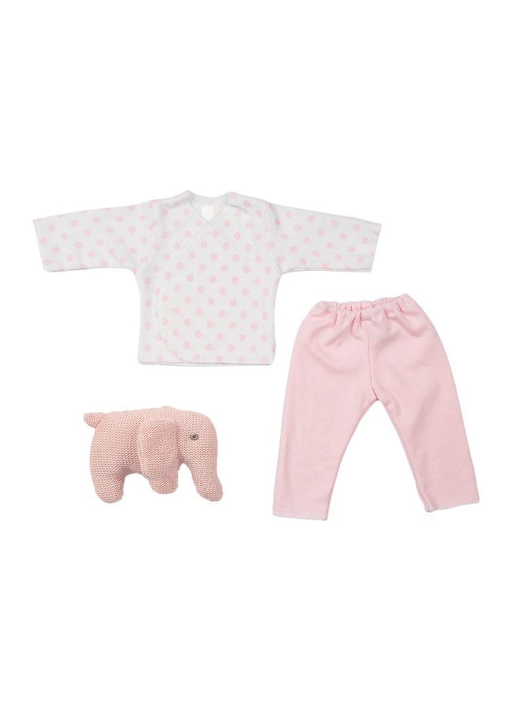 Pink Premature Baby Clothes Set with Elephant Rattle