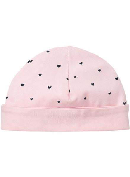 Light Rose Pink With Hearts Hat - Reversible (Tiny Baby, 4-7lb)