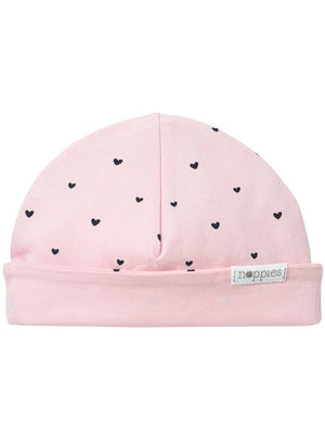 Light Rose Pink With Hearts Hat - Reversible (Tiny Baby, 4-7lb) - Hat - Noppies