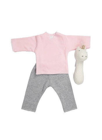 Pink Top, Grey Trousers & Unicorn rattle
