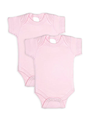2 Pack - 100% Cotton Pink Short Sleeved Bodysuits (Tiny Baby, 4-7lb)