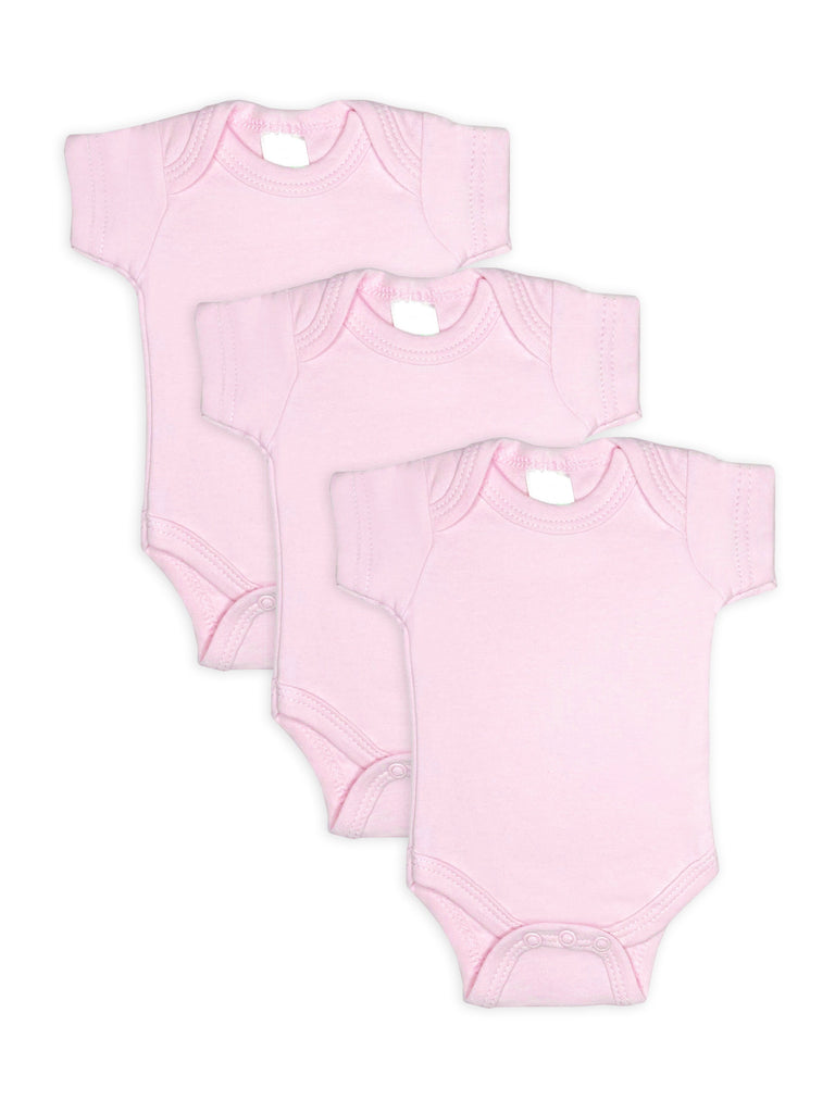3 Pack - 100% Cotton Pink Short Sleeved Bodysuits (Tiny Baby, 4-7lb)