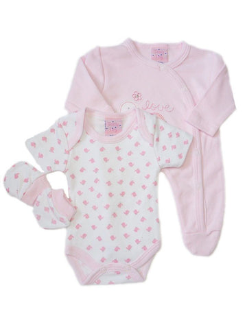 Pink 4 Piece Gift Set Sleepsuit, mitts bib & hat 3-5lbs & 5-8lbs