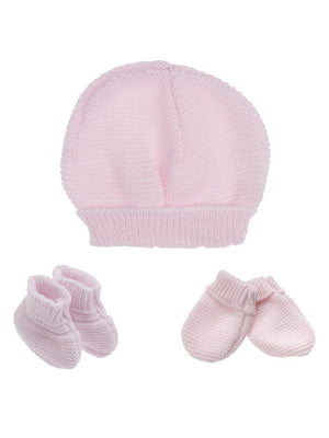 Tiny Baby Knitted Hat, Mittens & Booties Set - Pink (4-7lb) - Hat, Mitts & Booties Set - La Manufacture de Layette