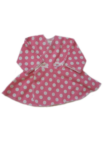 Pink With White Spots Premature Baby Dress (1-3lb)