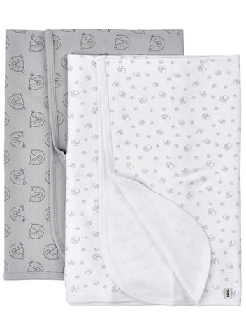 2 Pack, Organic Cotton Blankets, Bears, 70 x 70 cm