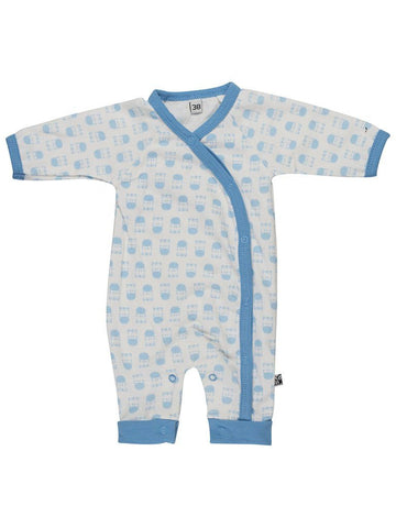 Organic Cotton Blue Zebra Print Footless Babygrow - 3-5lb