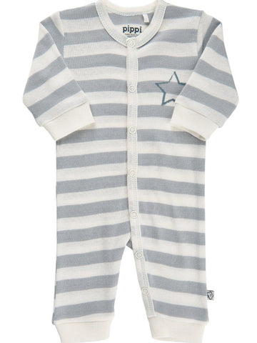 Organic Cotton Blue Stripe and Star Print Footless Babygrow (3-6lb)