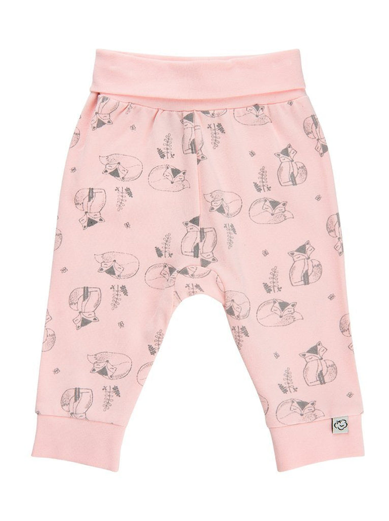 Organic Cotton Pink Sleeping Fox Trousers - 3-5lb