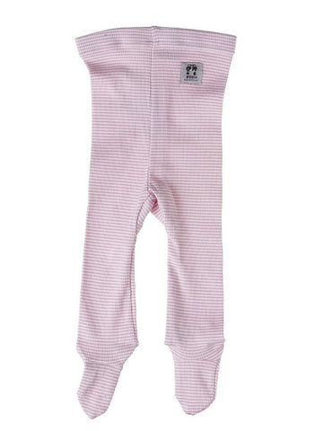 Organic Cotton Pink Stripe Rib Footed Trousers - 4-6lb