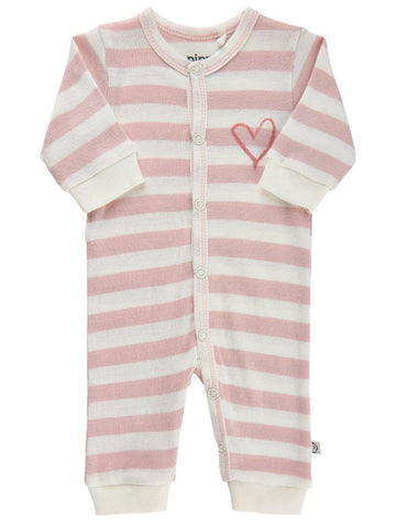 Organic Cotton Pink Stripe and Heart Print Footless Babygrow (3-6lb)