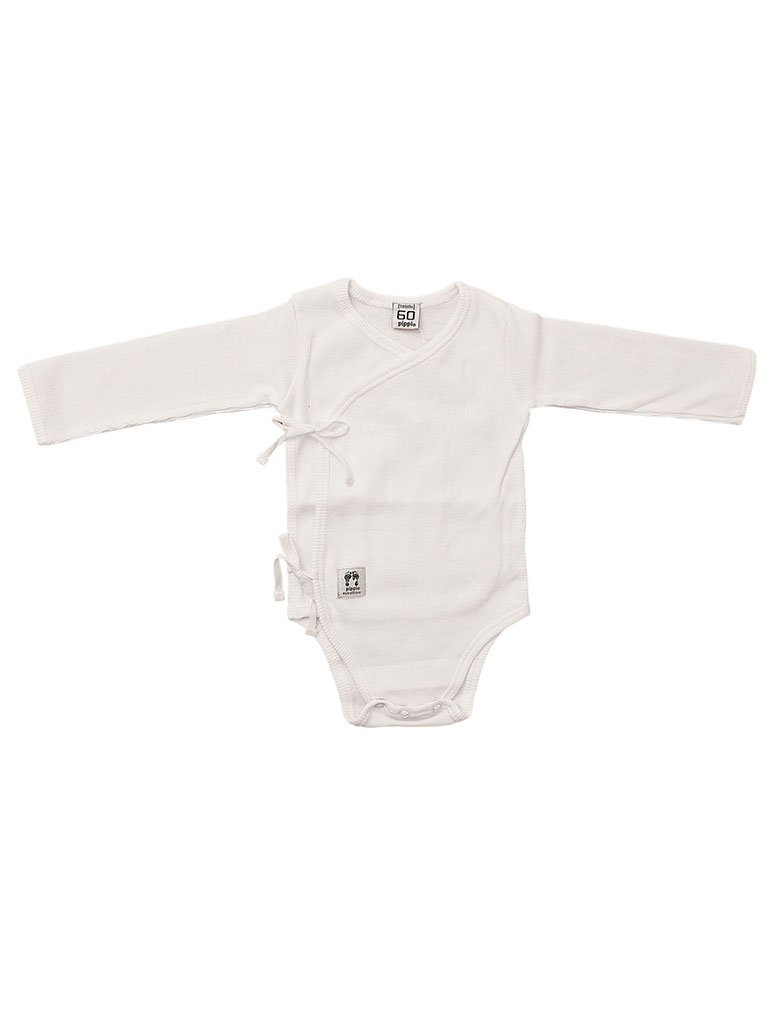 Organic Cotton White Rib Tie Wrapover Vest Little Mouse Baby