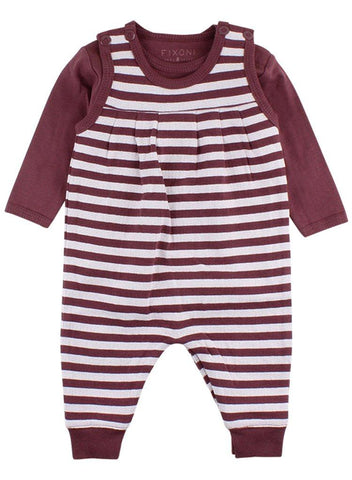 Plum Striped Romper & Bodysuit (4lb-7lb)