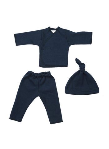Navy top, trousers & hat set  (Premature Baby Set)