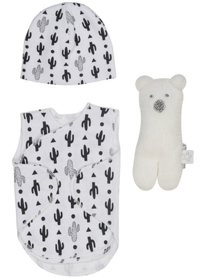 Cactus Incubator Vest, Hat & Polar Bear Rattle (3-5lb) - Incubator Vest - Itty Bitty Baby Clothing