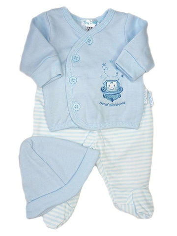 Blue 3 Piece Set: Robot top, trousers & hat (3-5lbs & 5-8lbs)