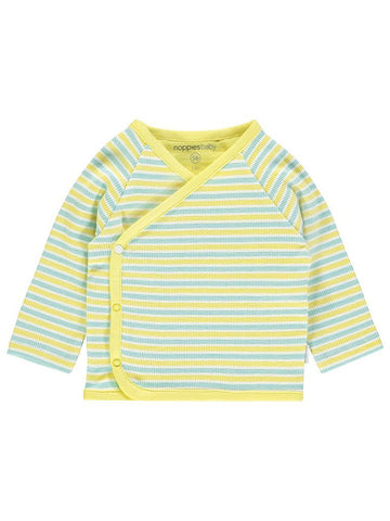 Long Sleeve Wrap-over Top - Yellow and Blue Stripe (4-7lb)