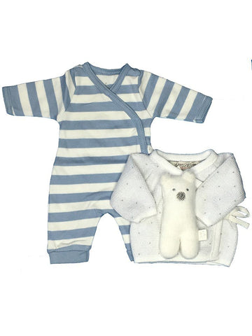 Striped sleepsuit, cardigan and polar bear 3-5lb