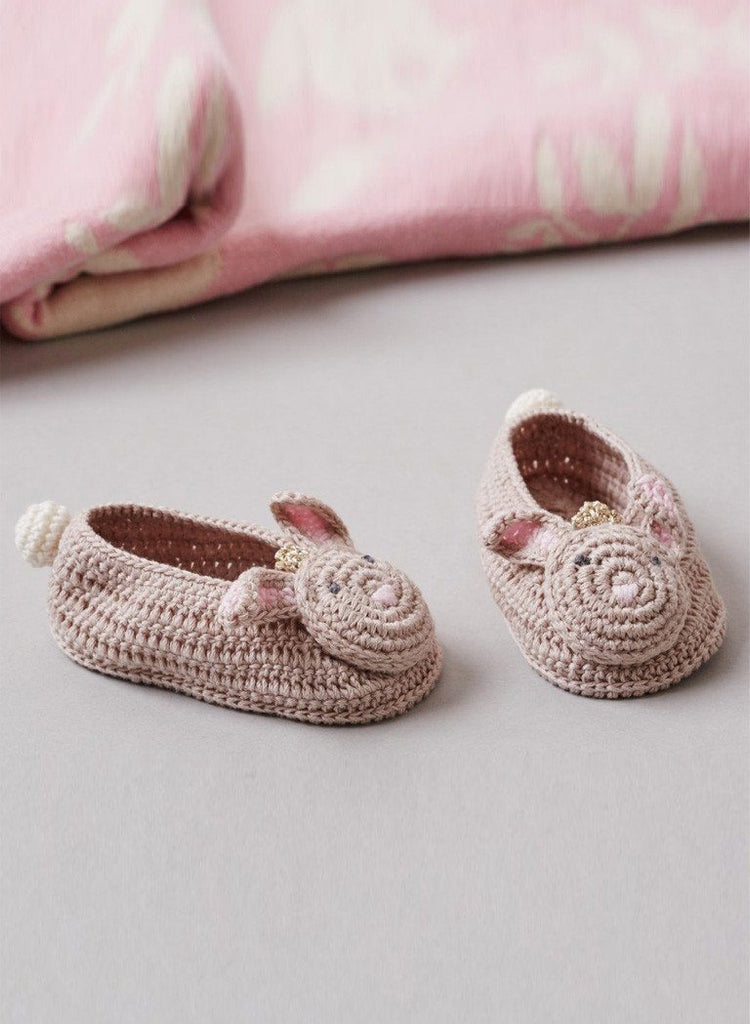 Crochet Bunny Princess Booties, 0-6 months - Booties - Albetta UK - Little Mouse Baby Clothing & Gifts