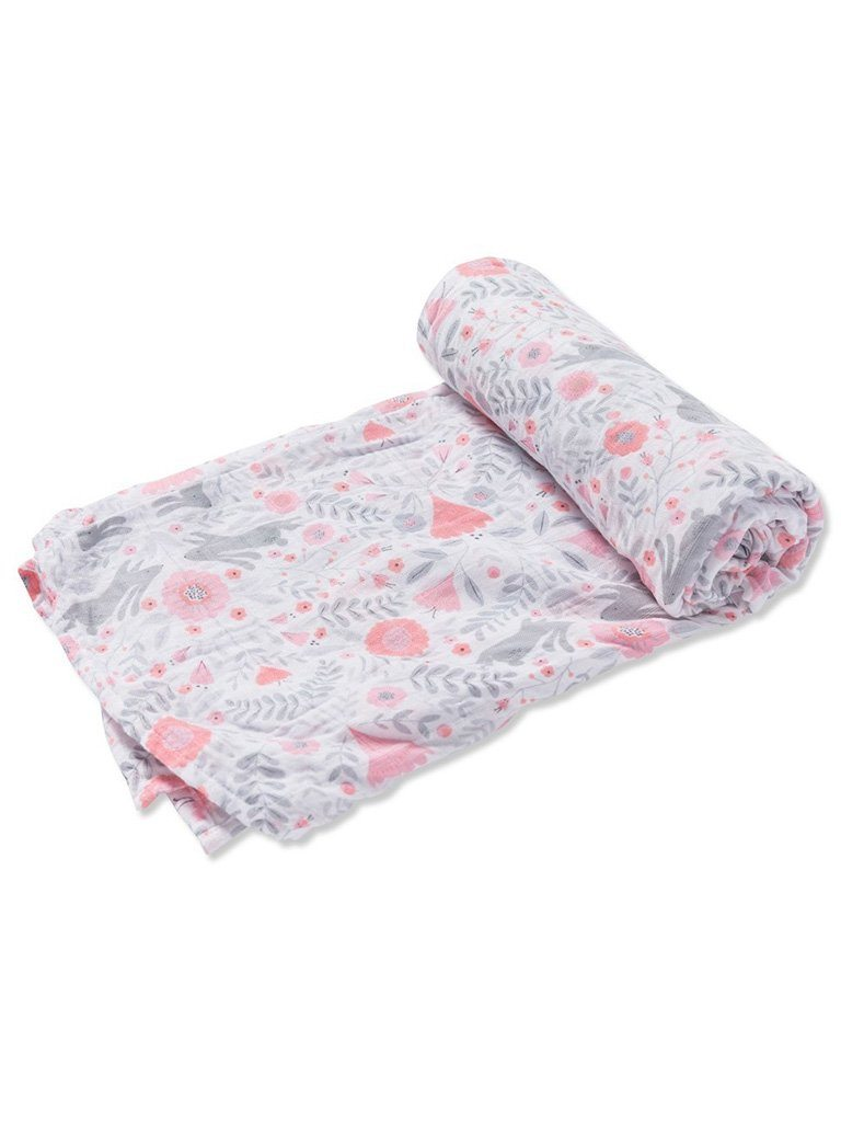 Large Rabbit and Fowers Bamboo Muslin Swaddle