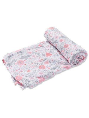 Large Rabbit and Flowers Bamboo Muslin Swaddle