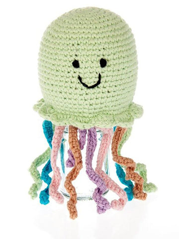 Crochet Jellyfish - Fair Trade Rattle Toy, Pebble Toys
