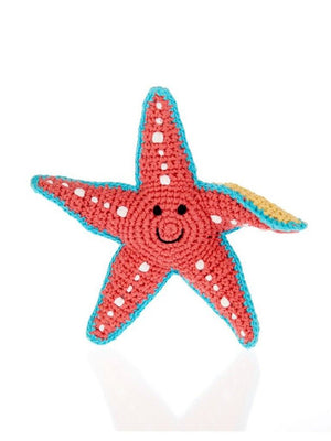 Crochet Starfish - Fair Trade Rattle Toy, Pebble Toys