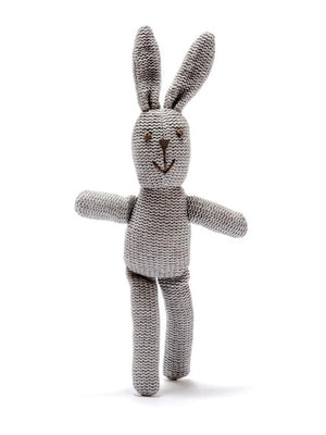 Organic Cotton Grey Bunny Rattle