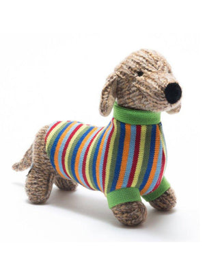 Knitted Sausage Dog with Stripy Jumper