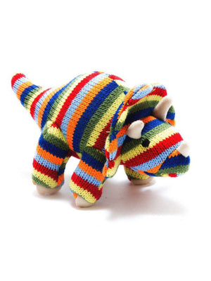 Crochet Triceratops Rattle, Stripy
