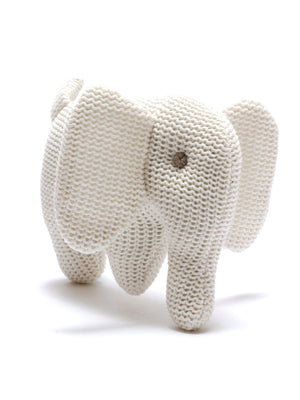 Organic Cotton Elephant Baby Rattle - White