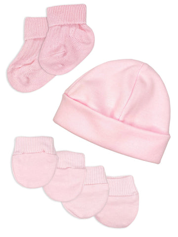 Premature Baby Hat, Socks and Mitts Set - Pink (3-5lb)