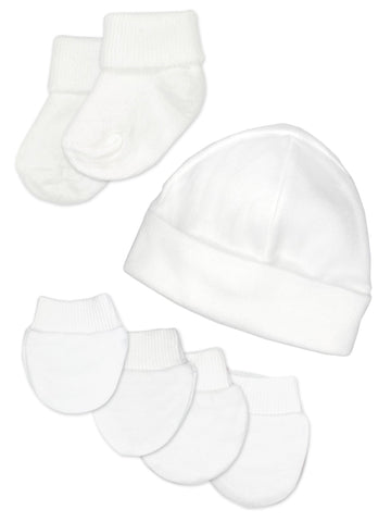 Premature Baby Hat, Socks and Mitts Set - White (3-5lb)