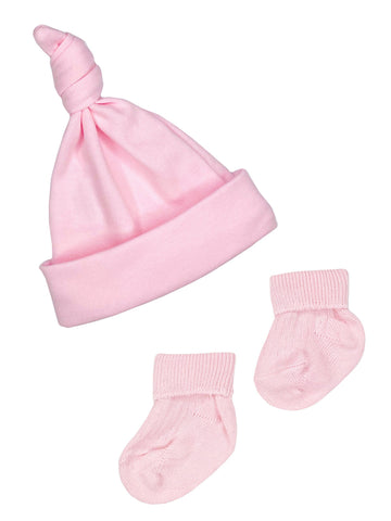 Premature Baby Knotted Hat and Socks Set - Pink (3-5lb)