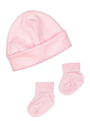 Premature Baby Hat and Socks Set - Pink (3-5lb)