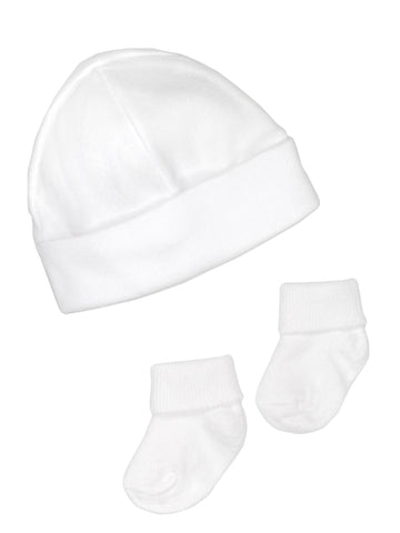 Premature Baby Hat and Socks Set - White (3-5lb)