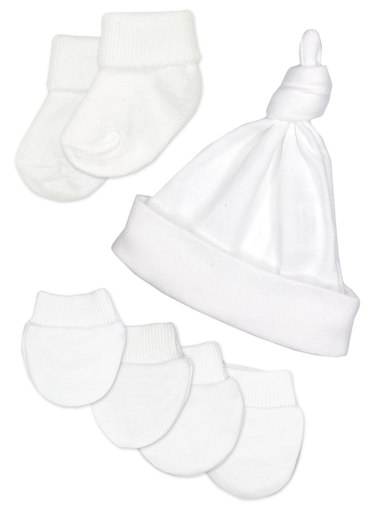 Premature Baby Knotted Hat, Socks and Mitts Set - White (3-5lb)