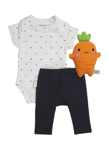 Star Vest, Navy Legging and Carrot Plush - Tiny Baby Gift Set