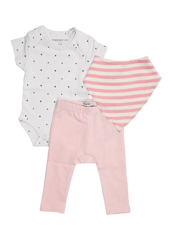 Star Vest, Blush Legging & Pink Stripe Bib (Tiny Baby)