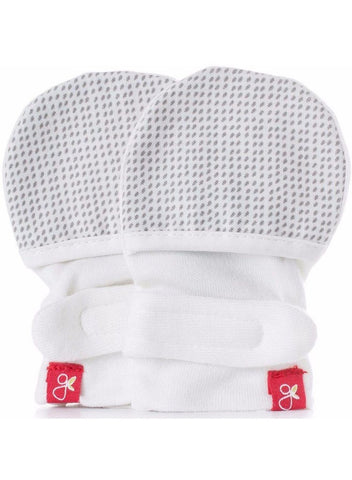 Stay-On Scratch Mittens - Grey Drops  (0-3 Months)