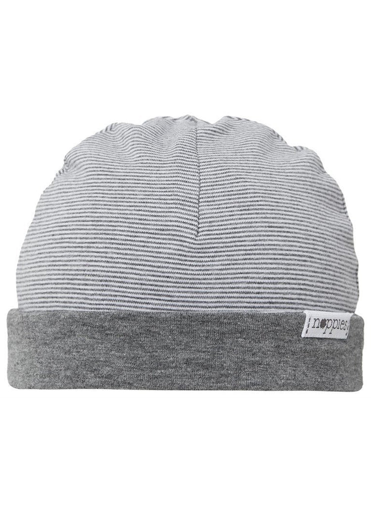 Charcoal Grey Stripe Hat - Reversible - Hats - Noppies - Little Mouse Baby Clothing & Gifts