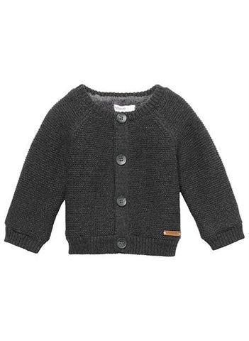 Chunky Knitted Fluffy Lined Cardigan - Charcoal - cardigans - Noppies - Little Mouse Baby Clothing & Gifts