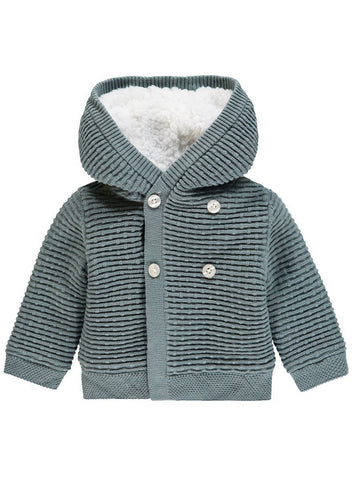 Ribbed Knitted Fluffy Lined Cardigan/Coat - Teal (4-7lb)