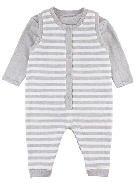 Grey Striped Tiny Baby Romper & Bodysuit (4lb-7lb)