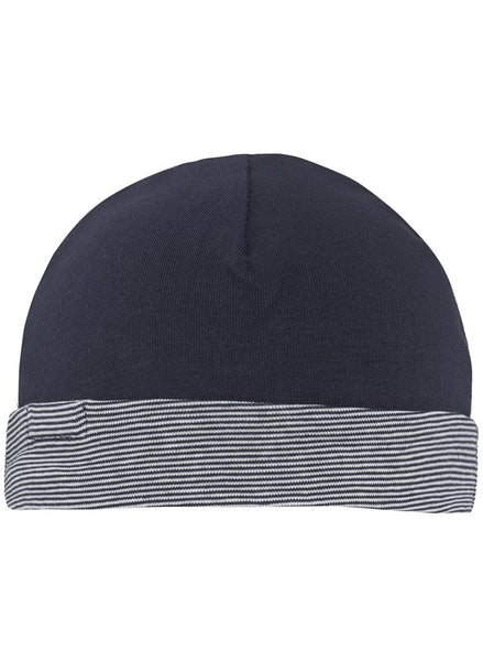 Navy Stripe Hat - Reversible (Tiny Baby Size, 4-7lb)