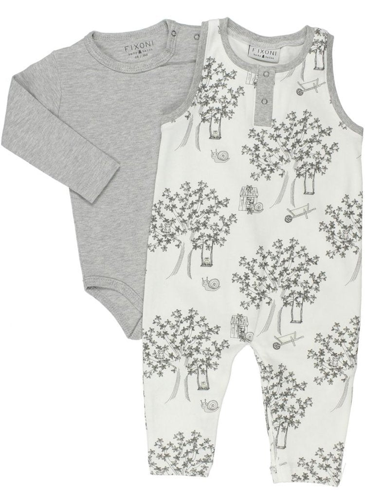 Wonderful Tiny Baby Romper & Bodysuit, Off-White & Grey (4lb-7lb)